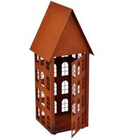 Gartendeko Haus groß Laterne Gartenlicht zum Stellen Metall Rost Deko 45cm