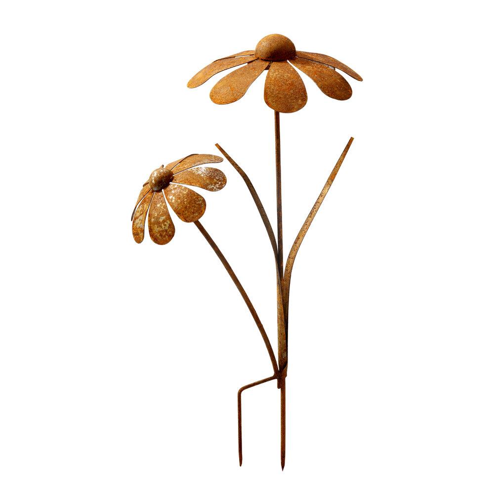 Blumenstecker Blumen Rost Deko Stecker Gartendeko Stab Beetstecker 2 Blüten