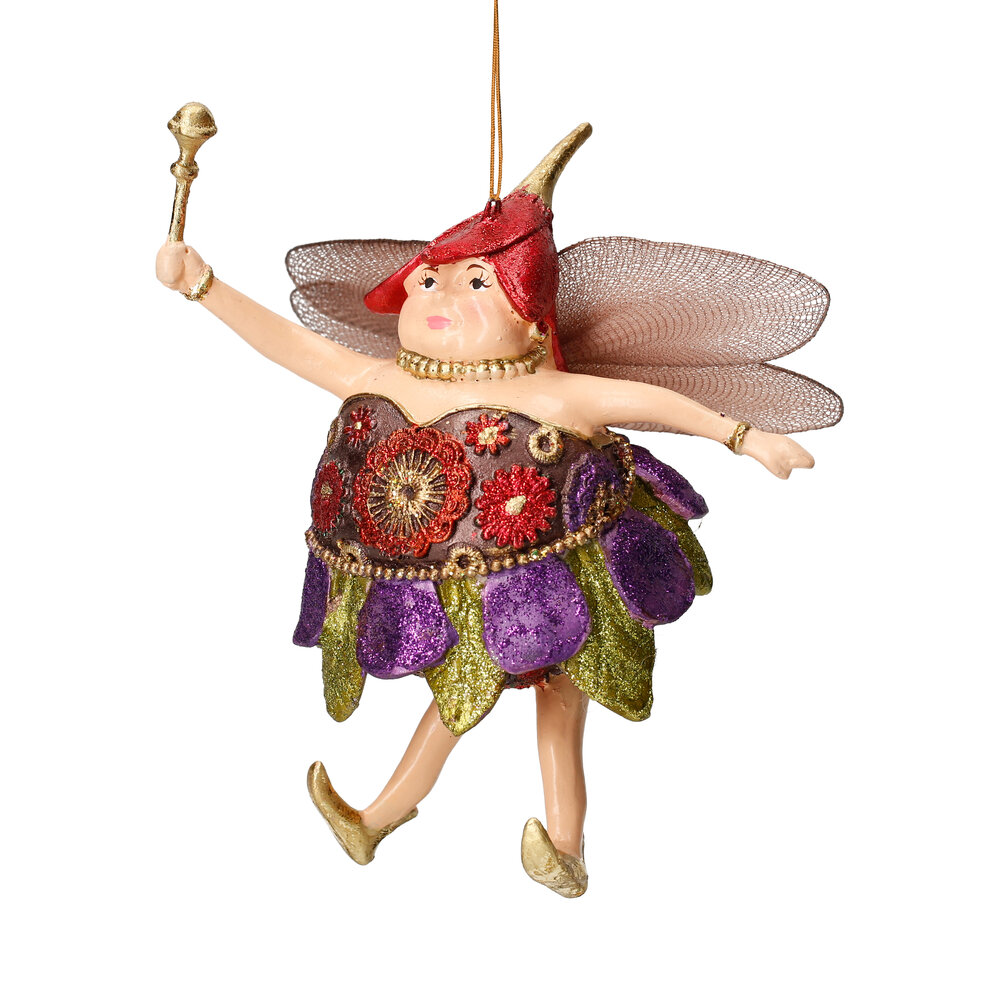 "Christbaumschmuck Figur ""Dicke Elfe"" Fee lila-grün-rot Hänger 15cm"