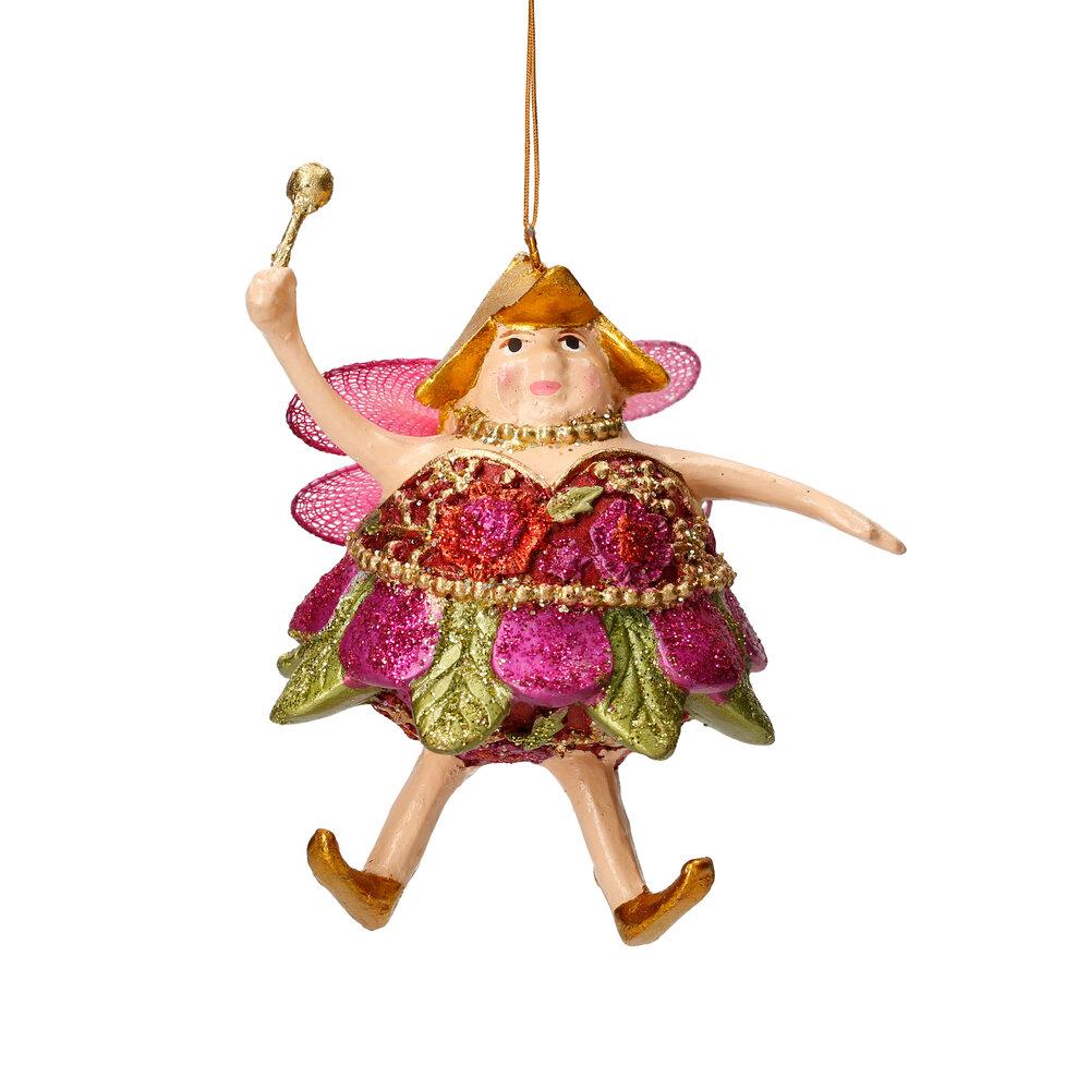 Christbaumschmuck Figur Dicke Elfe mini Fee orientrot-grün Hänger 8cm