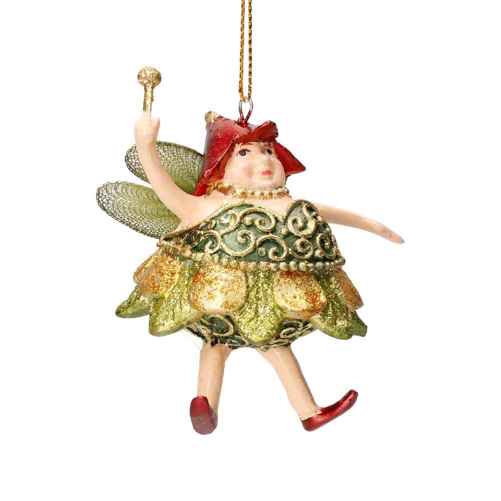 Christbaumschmuck Figur Dicke Elfe mini Fee gold-grün Hänger 8cm