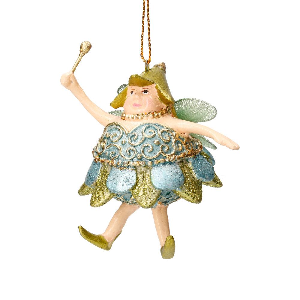 Christbaumschmuck Figur Dicke Elfe mini Fee hellblau-grün Hänger 8cm