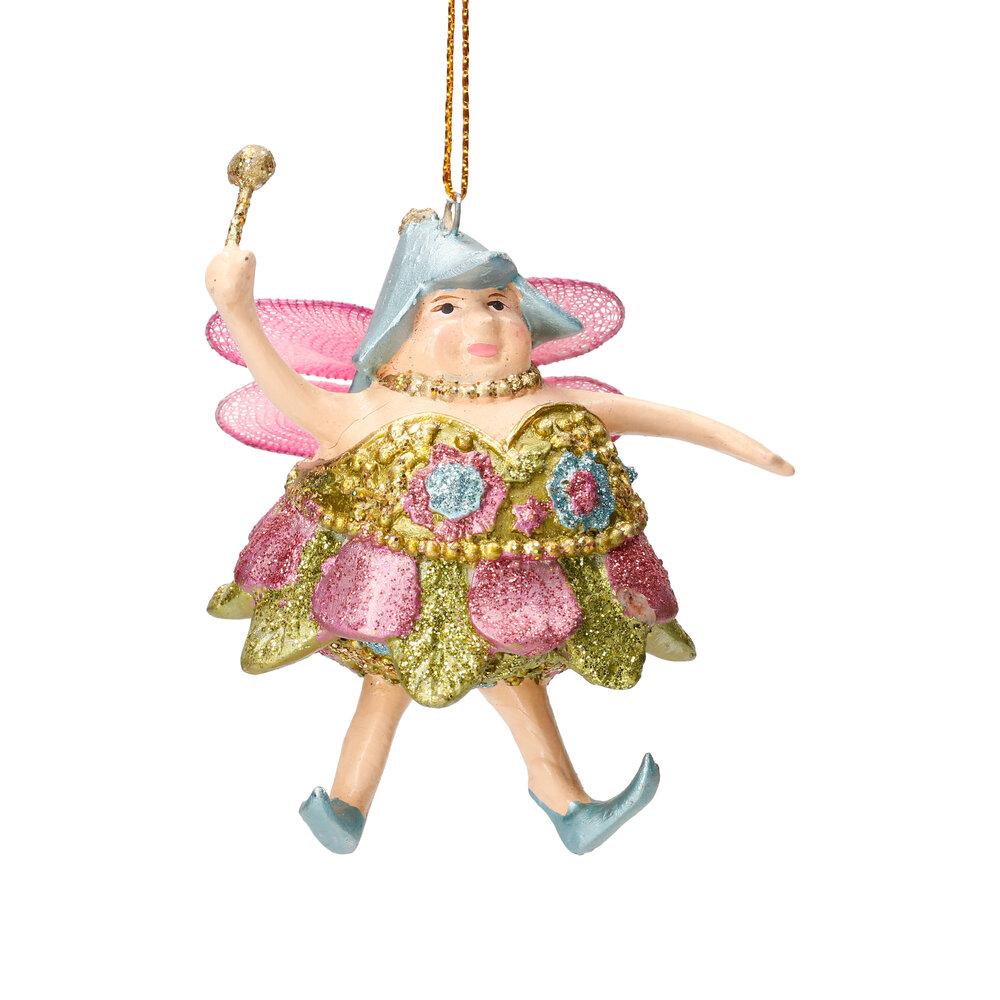 Christbaumschmuck Figur Dicke Elfe mini Fee hellgrün-rosa Hänger 8cm