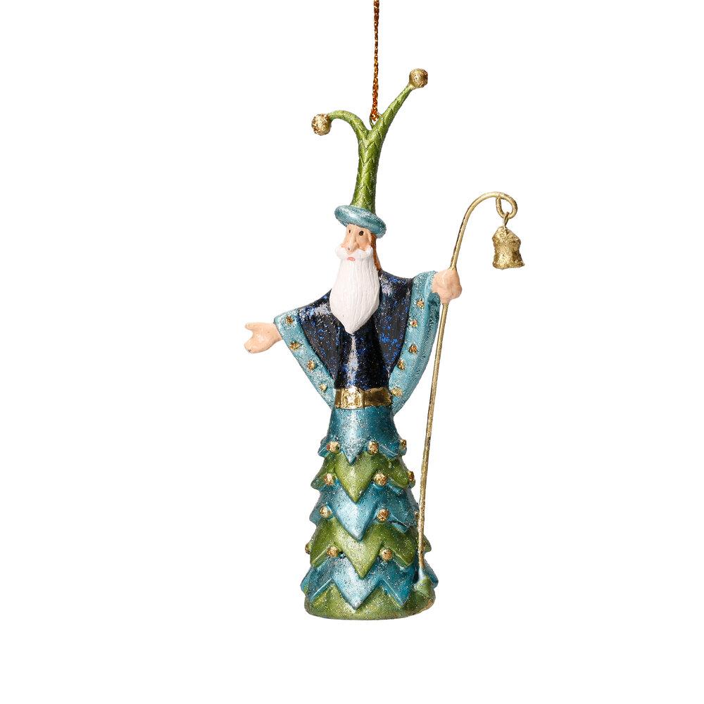 Christbaumschmuck Figur Weihnachtsmann mit Stab blau Baumschmuck 14cm