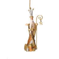 Christbaumschmuck Figur Weihnachtsmann mit Stab taupe gold Baumschmuck 14cm