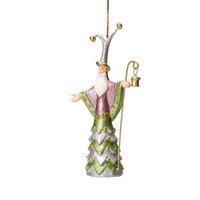 Christbaumschmuck Figur Weihnachtsmann mit Stab grün-silber-pink Hänger 14cm