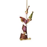Christbaumschmuck Figur Weihnachtsmann mit Stab weinrot Baumschmuck 14cm