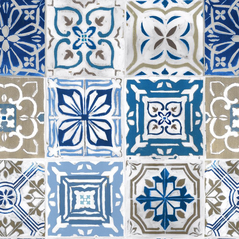 "Wachstuchtischdecke ""Artistic tiles"" 1,4m Br. Kacheln blau Fliesen Meterware"