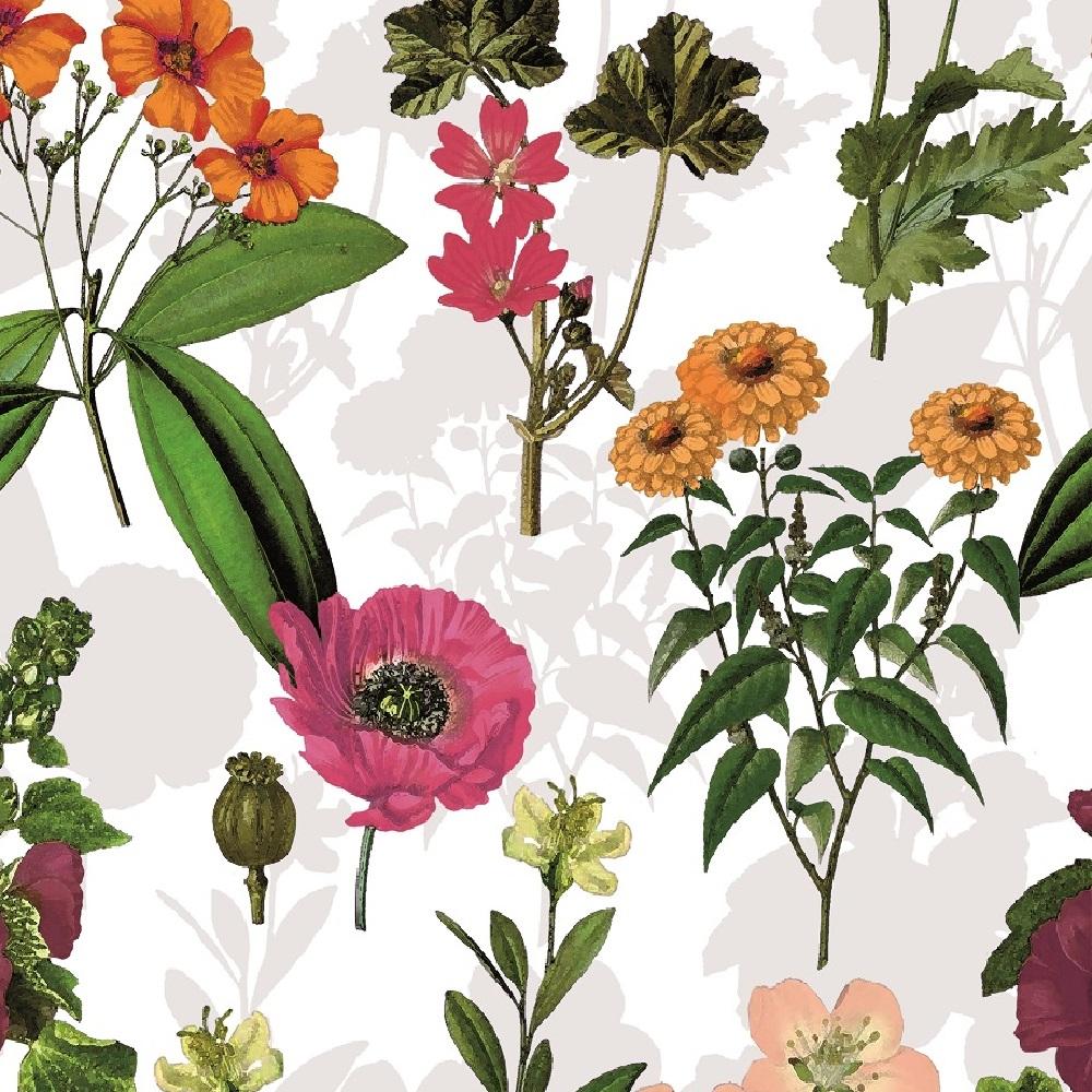 """Wachstuchtschdecke """"Bouquet"""" 1,4m Br. Blumen Wachstuch weiß grau bunt Meterware"""
