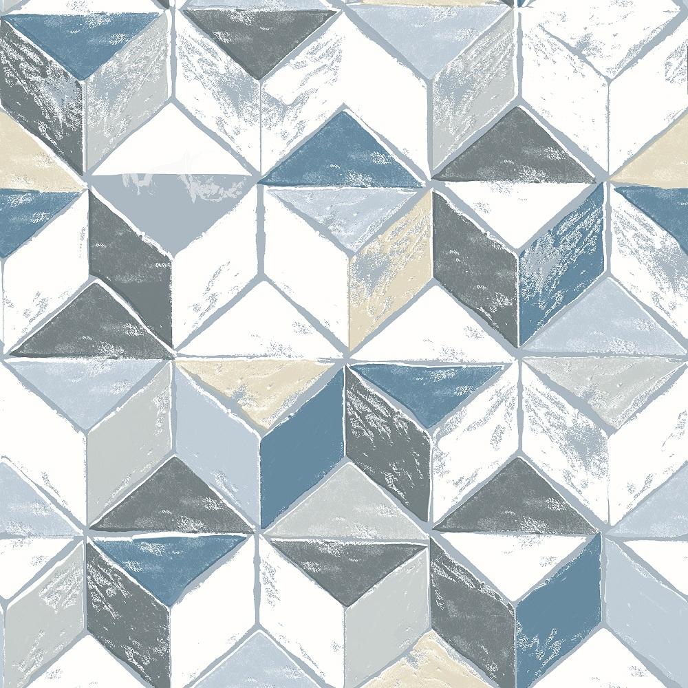 """Wachstuchtischdecke """"Cubi"""" 1,4m Br. Wachstuch blau grau weiß Meterware"""