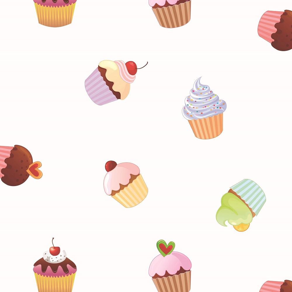 """Wachstuchtischdecke """"Cupcakes"""" 1,4m Br. weiß bunt Wachstuch Kinder Meterware"""