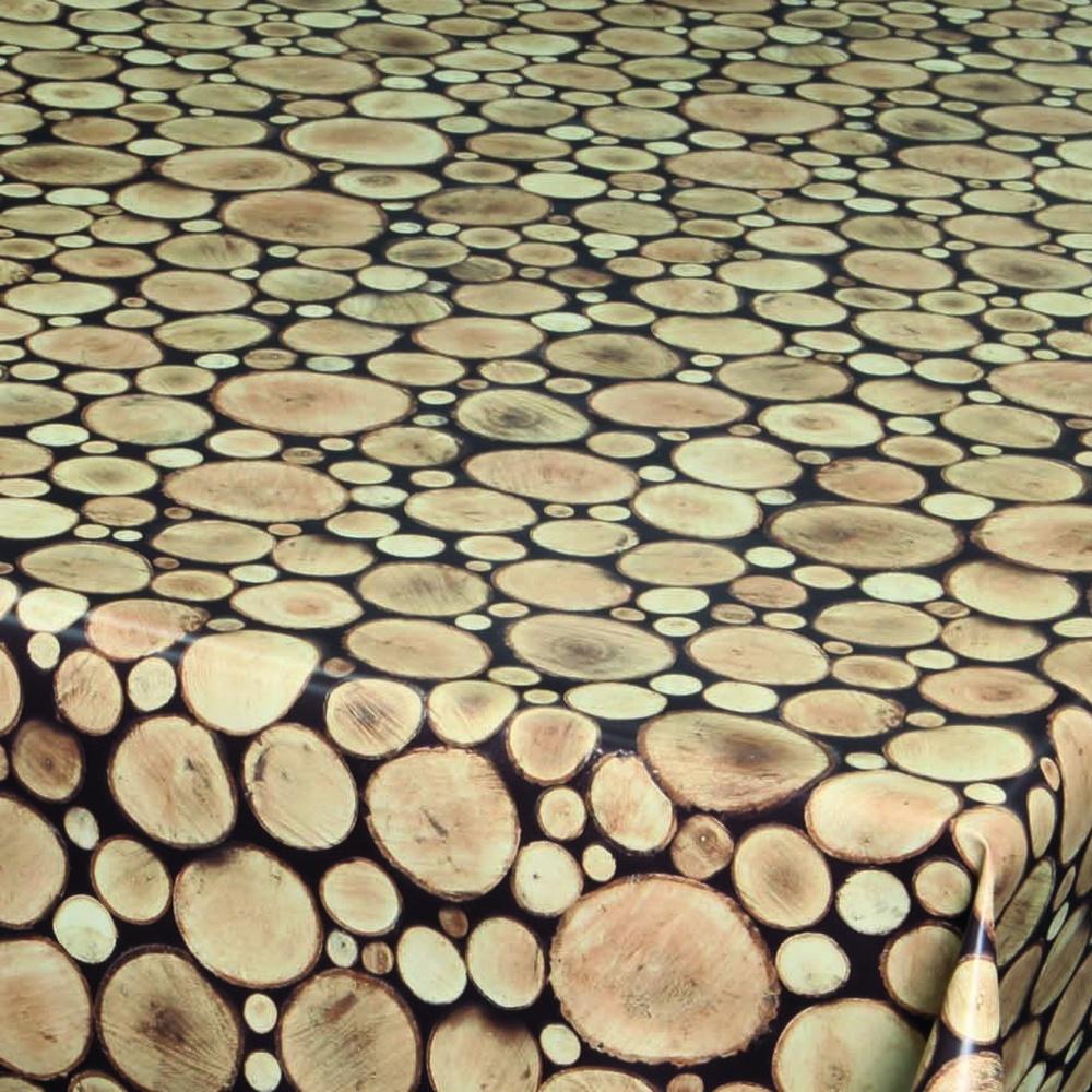"""Wachstuchtischdecke """"Logs"""" 1,4m Br. braun Holz Wachstuch Meterware"""