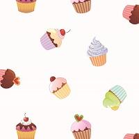 """Wachstuch Tischdecke """"Cupcakes"""" in 1,4m Breite Meterware"""