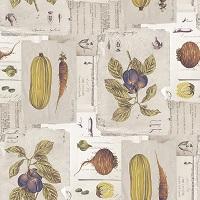 """Wachstuchtischdecke """"Vihannes"""" 1,4m Br. Gemüse beige Wachstuch Meterware"""