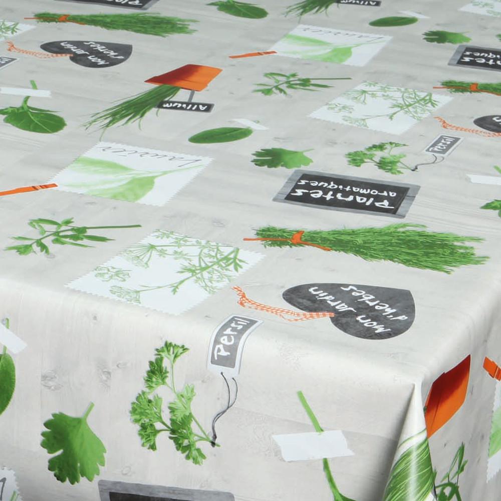 """Wachstuchtischdecke """"Basilic"""" Wachstuch Kräuter beige grün 1,4m Br. Meterware"""