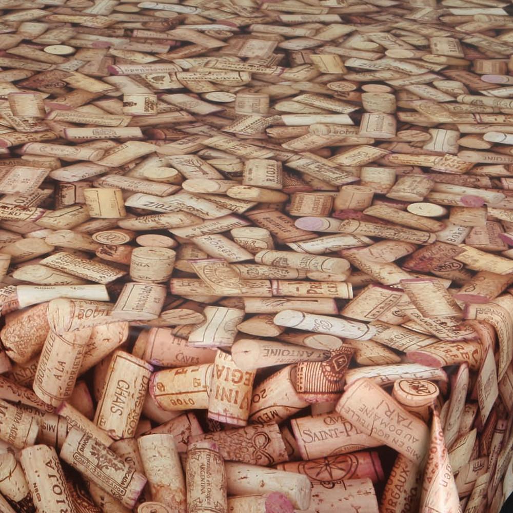 """Wachstuchtischdecke """"Cork"""" 1,4m Br. Korken braun Wachstuch Meterware"""