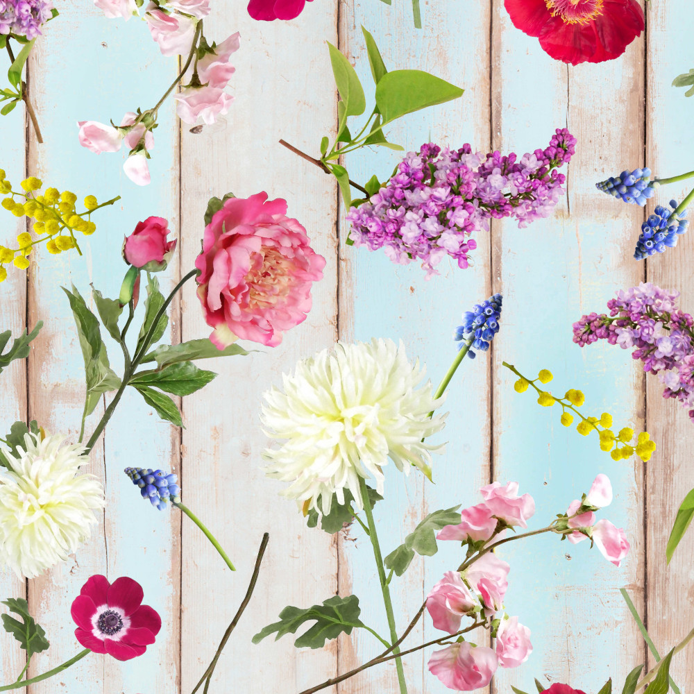 Wachstuchtischdecke Lisanne 1,4m Br. Blumen blau türkis Wachstuch Meterware