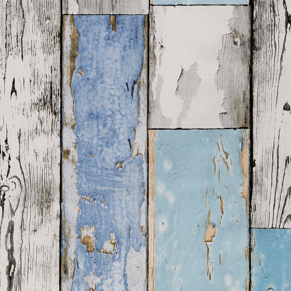"""Wachstuchtischdecke """"Scrapwood"""" 1,4m Br. Holz blau weiß Wachstuch Meterware"""