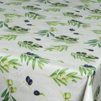 Wachstuch Tischdecke Oliven beige grün mediterran Wachstuch 1,4m Br. Meterware
