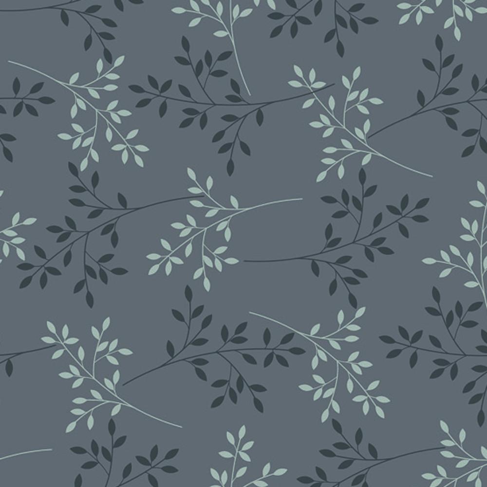 Wachstuchtischdecke Basic chic anthrazit Zweige Blätter 1,4m Br. Meterware