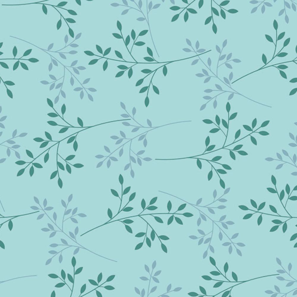 Wachstuchtischdecke Basic chic türkis Zweige Blätter 1,4m Br. Meterware
