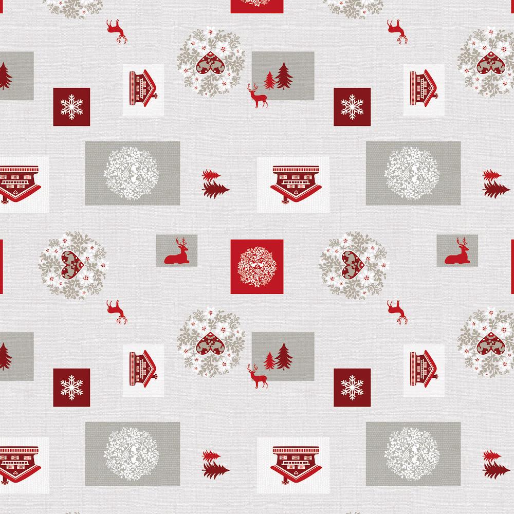 Wachstuchtischdecke Christmas Dream Weihnachten grau rot 1,4m Br. Meterware