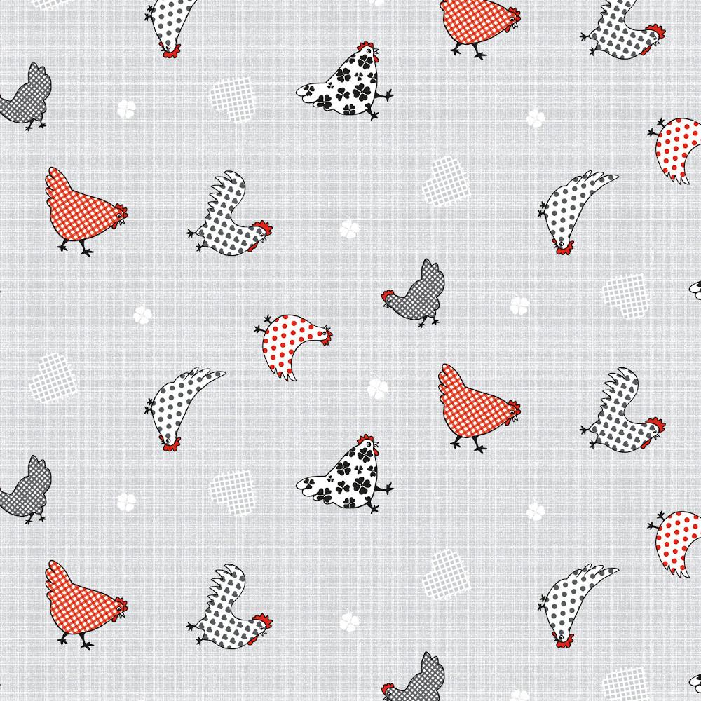 Wachstuchtischdecke Chicken Village grau weiß Hühner rot 1,4m Br. Meterware