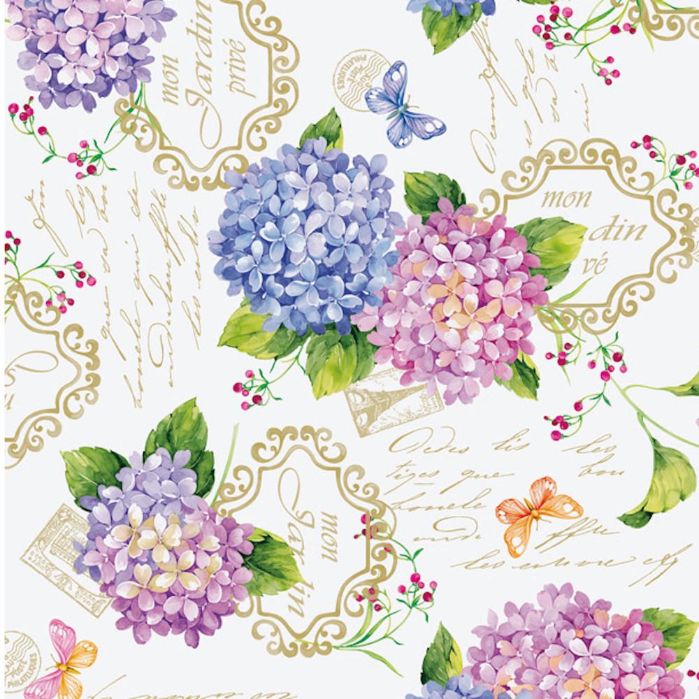 Wachstuchtischdecke Hortensie Blumen Schmetterlinge Wachstuch 1,4m Br. Meterware