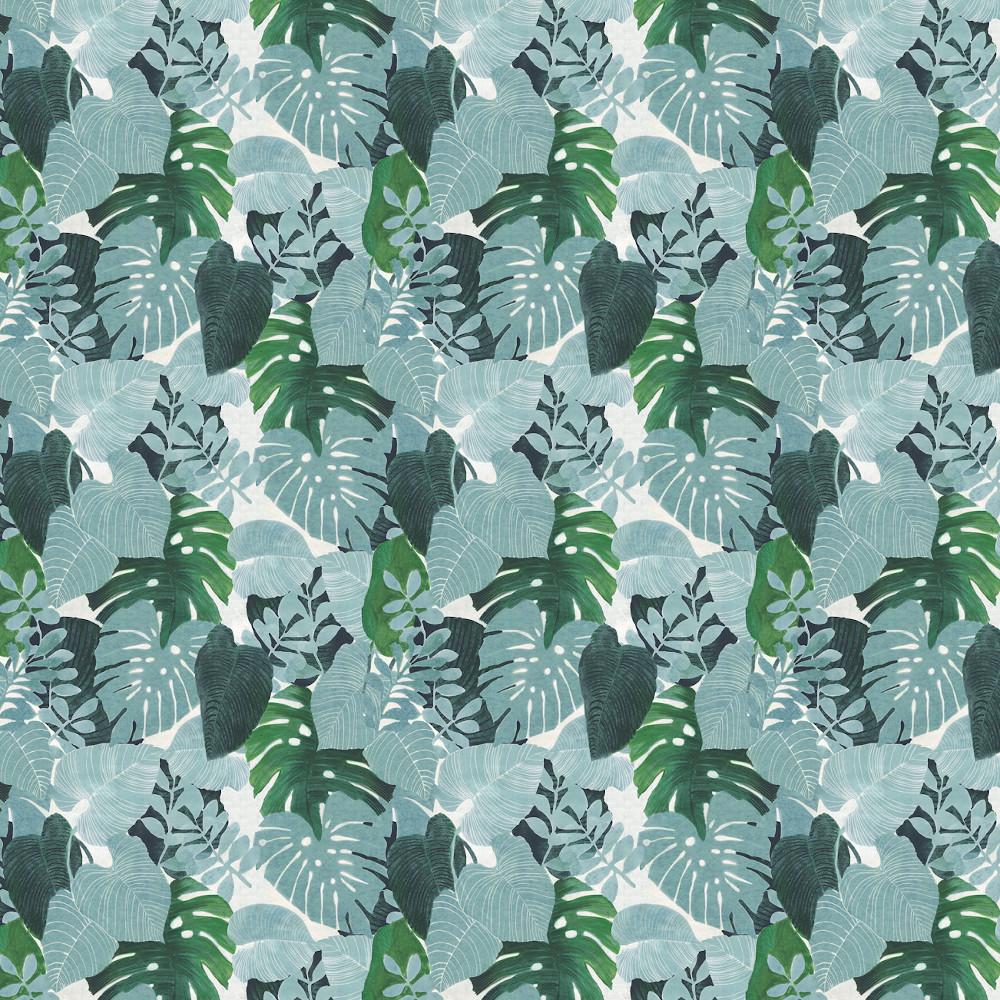 Wachstuchtischdecke Palm Spring Blätter Pflanzen Palmen grün 1,4m Br. Meterware