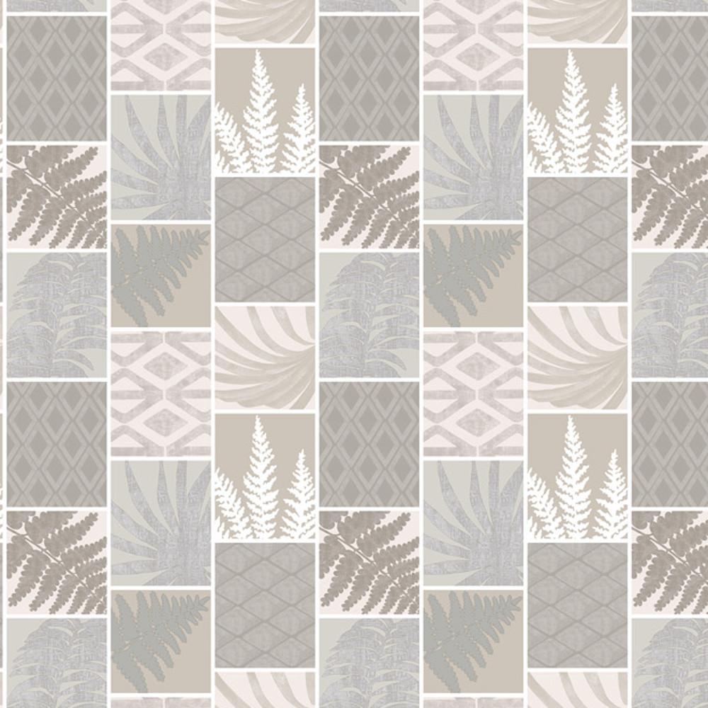 Wachstuchtischdecke Palms Grey Blätter Pflanzen grau beige 1,4m Br. Meterware