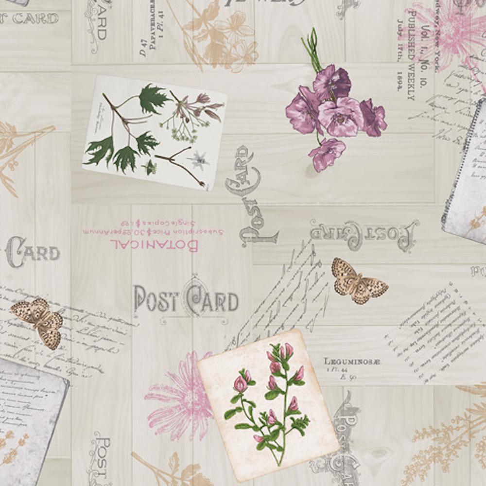 Wachstuchtischdecke Post Card Blumen Postkarte Schmetterling 1,4m Br. Meterware