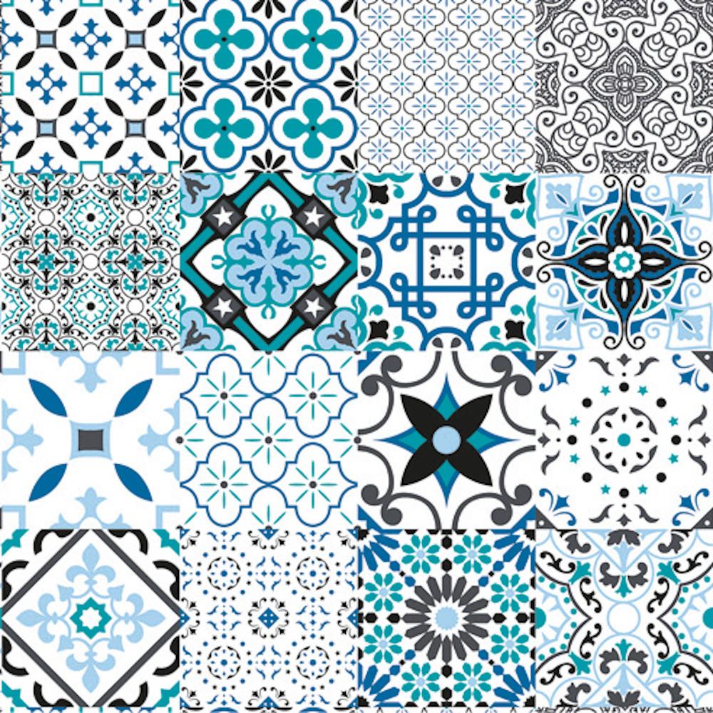 Wachstuchtischdecke Squares Blue Fliesenmuster Kachel 1,4m Br. Meterware