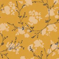 Wachstuchtischdecke Autumn Yellow Zweige Blätter senfgelb 1,4m Br. Meterware