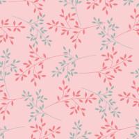 Wachstuchtischdecke Basic chic rosa Zweige Blätter 1,4m Br. Meterware