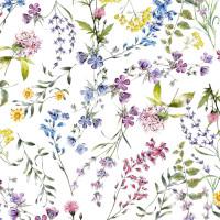 """Wachstuchtschdecke """"Blumenwiese"""" 1,4m Br. Blumen Wachstuch weiß bunt Meterware"""