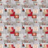 Wachstuchtischdecke Landhausliebe Christmas grau rot Herzen 1,4m Br. Meterware