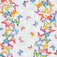 Wachstuchtischdecke Schmetterlinge bunt grau Wachstuch 1,4m Br. Meterware