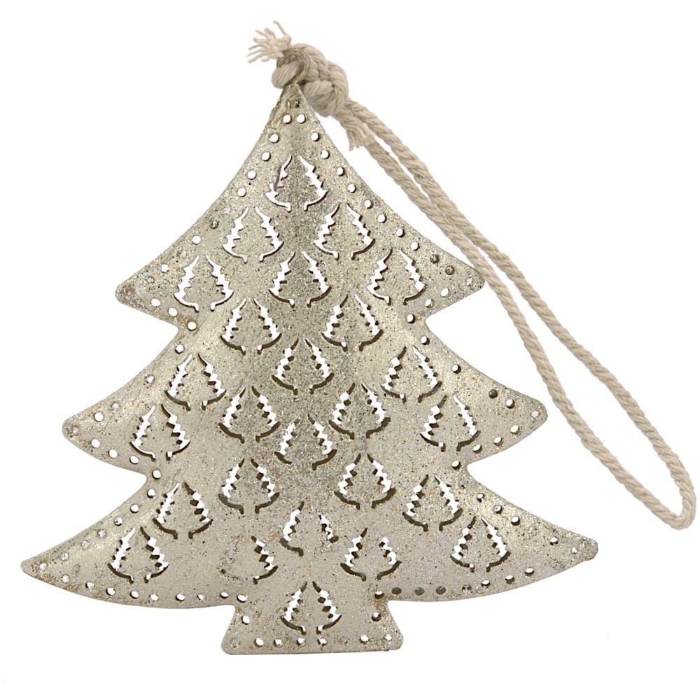 Christbaumschmuck Tannenbaum silber Anhänger Hänger Weihnachtsdeko  12,5cm