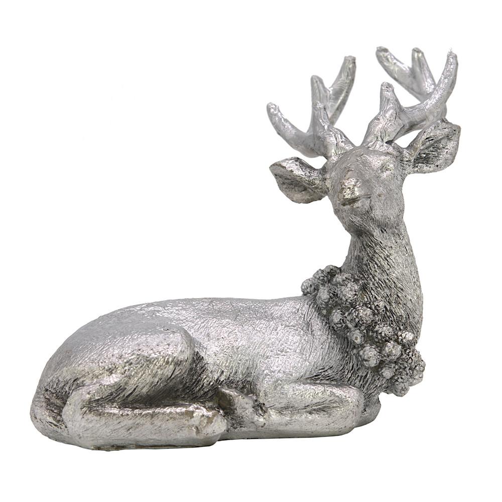 Weihnachtsdeko Figur Hirsch liegend REH Silber mit Kranz Weihnachten (14x15x9cm)