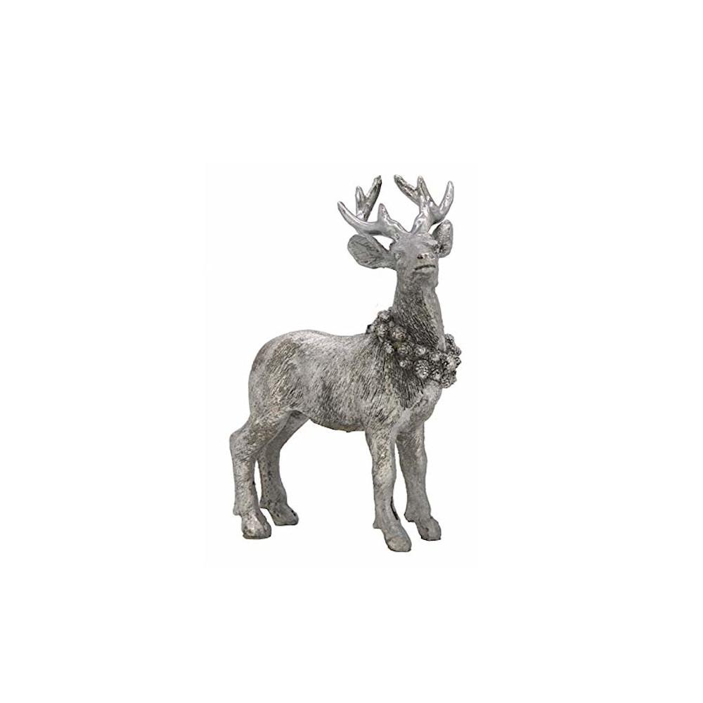 Weihnachtsdeko Figur Hirsch stehend REH Silber mit Kranz Weihnachten (17x13x6cm)