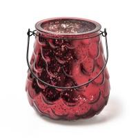 WeihnachtsdekoTeelichthalter Windlicht CrackleGlas rot spiegelnd mit Drahthalter