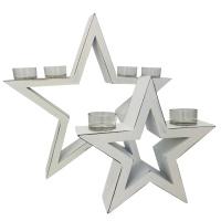 Weihnachtsdeko Vintage Kerzenhalter Stern 2-teilig weiß inkl. 6 Teelichthalter
