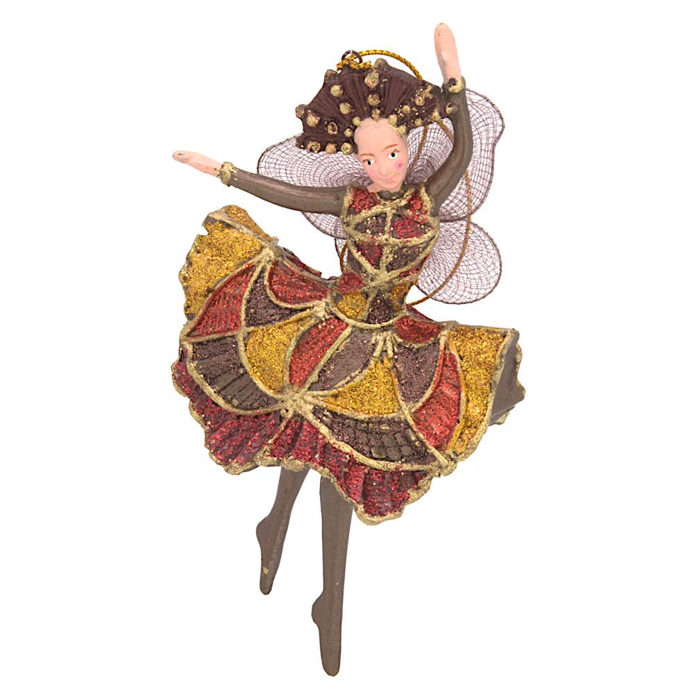 Christbaumschmuck Figur Tänzerin Ballerina Elfe Baumschmuck braun-gold 15cm
