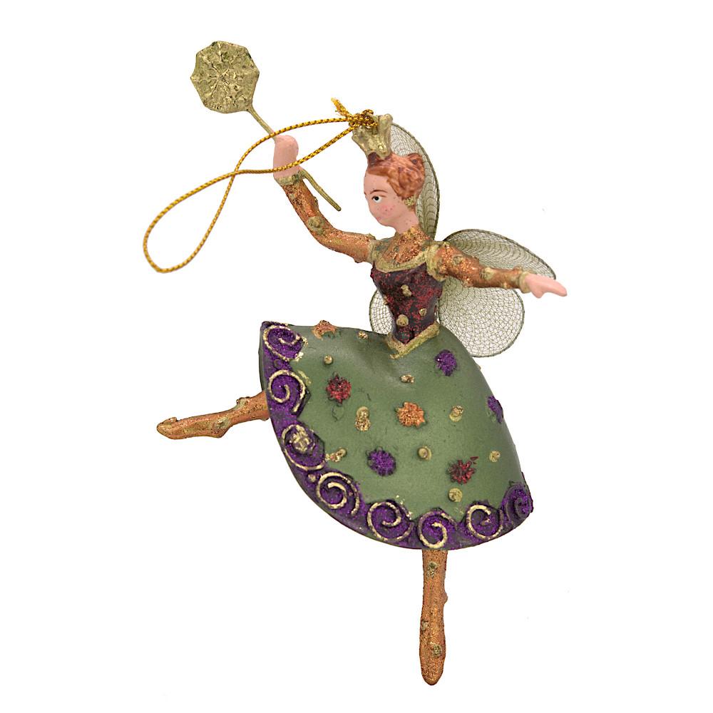 Christbaumschmuck Figur Tänzerin Ballerina Elfe Baumschmuck grün-lila 15cm