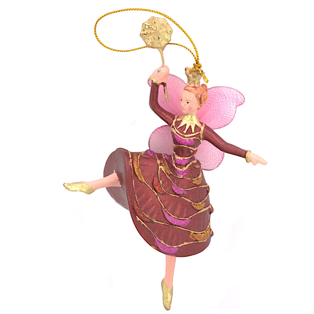 Christbaumschmuck Figur Tänzerin Ballerina Elfe Baumschmuck rot-gold 15cm