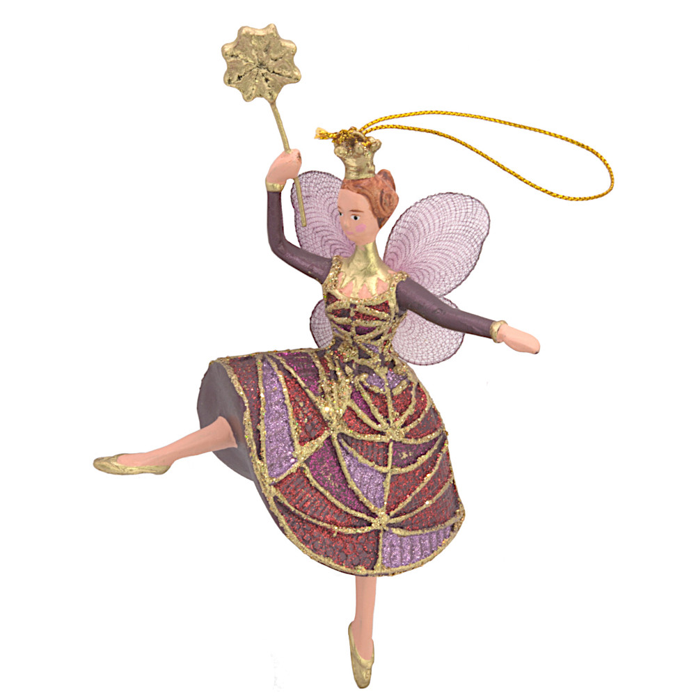 Christbaumschmuck Figur Tänzerin Ballerina Elfe Baumschmuck rot-lila 15cm