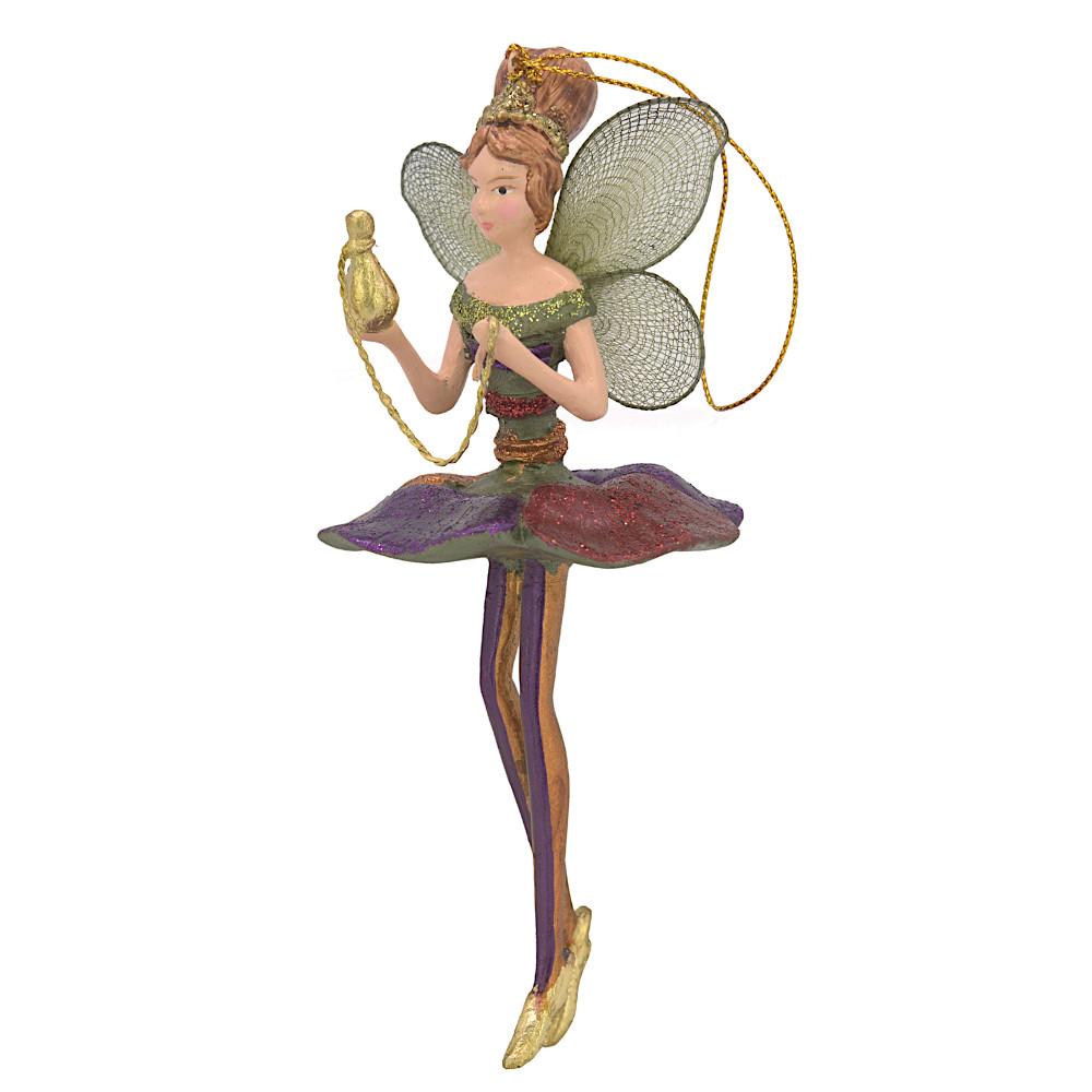 Christbaumschmuck Figur Blumenelfe mit Gefäß Elfe Baumschmuck 15cm