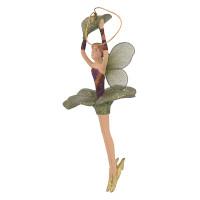 Christbaumschmuck Figur Blumenelfe mit Blatt Elfe Baumschmuck 15cm