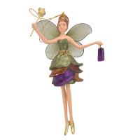 Christbaumschmuck Figur Blumenelfe mit Stern Elfe Baumschmuck 15cm