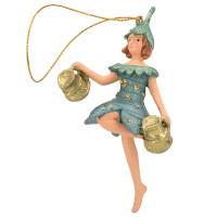 Christbaumschmuck Figur Blumenkind Blumenmädchen Baumschmuck Elfe blau